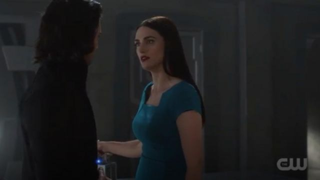 Green dress outfit worn by Lena Luthor (Katie McGrath) seen in Supergirl Season 4 Episode 4 - TV Show Outfits and Products