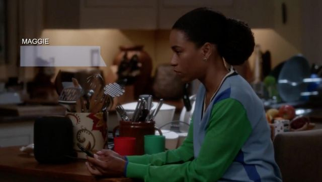 Green sweater and the blue of the Dr. Maggie Pierce (Kelly McCreary) on Grey's Anatomy (S15 Episode 3) - TV Show Outfits and Products