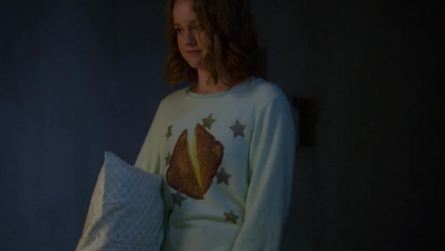 Green sweater of water with a toast printed from Abby Hammond (Liv Hewson) seen in Santa Clarita Diet Season 2 Episode 1 - TV Show Outfits and Products