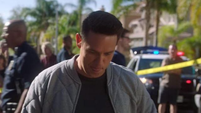 Grey Bomber jacket outfit worn by Dan Espinoza (Kevin Alejandro) in Lucifer (S03E13) - TV Show Outfits and Products