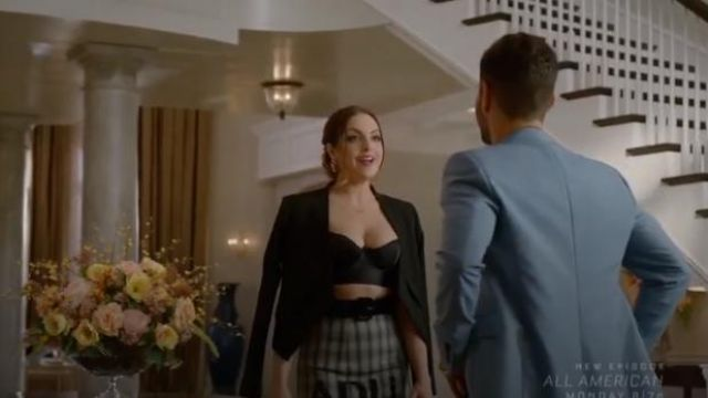 Grey Checked Maxi Skirt outfit worn by Fallon Carrington (Elizabeth Gillies) in Dynasty Season 3 Episode 5 - TV Show Outfits and Products
