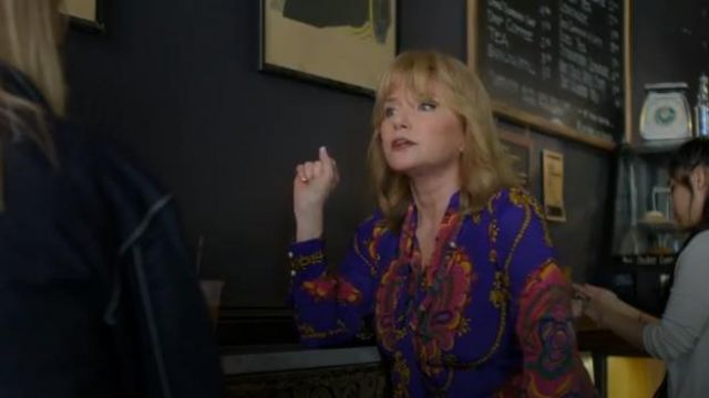 Gucci 70s graphic print silk shirt outfit worn by Dorothy Walker (Rebecca De Mornay) in Marvel's Jessica Jones (Season03 Episode02) - TV Show Outfits and Products