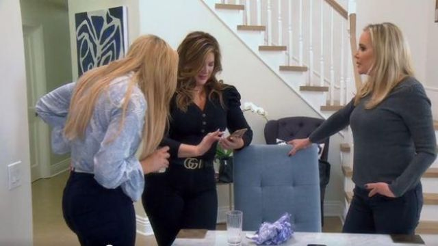 Gucci Embellished GG Belt brown outfit worn by Emily Simpson in The Real Housewives of Orange County Season 14 Episode 10 - TV Show Outfits and Products