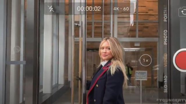 Gucci Piped Double-Breasted Coat outfit worn by Kelsey Peters (Hilary Duff) in Younger (Season06 Episode03) - TV Show Outfits and Products