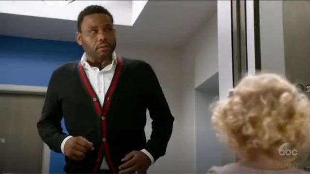 Gucci Wool Cardigan With Web outfit worn by Andre 'Dre' Johnson (Anthony Anderson) in black-ish (S03E04) - TV Show Outfits and Products
