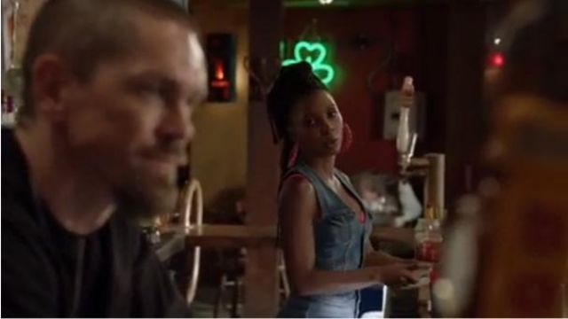 Guess Blue Nina Sleeveless Denim Jumpsuit outfit worn by Veronica Fisher (Shanola Hampton) in Shameless Season 10 Episode 1 - TV Show Outfits and Products