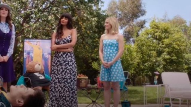 HVN Blue Nora Floral Print Mini Dress outfit worn by Eleanor Shellstrop (Kristen Bell) in The Good Place Season 4 Episode 8 - TV Show Outfits and Products