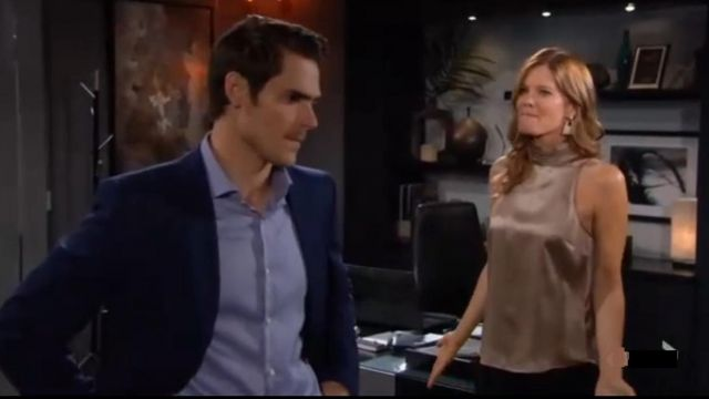 Halogen Metallic Geo Doorknocker Earrings outfit worn by Phyllis Summers (Michelle Stafford) as seen in The Young and the Restless JULY 8