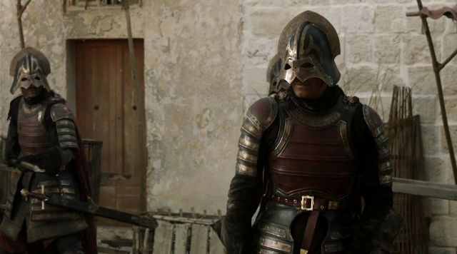 Fashion Trends 2021: Helmet of a soldier of the House of Lannister in Game of Thrones Season 1 Episode 5