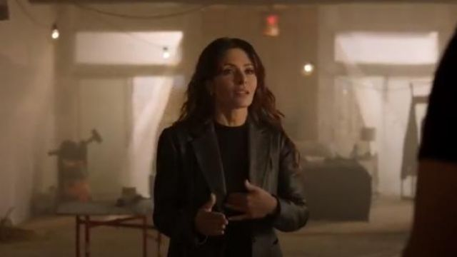 Helmut Lang Black Leather Blazer outfit worn by Jessica Russo (Sarah Shahi) in The Rookie Season 2 Episode 7 - TV Show Outfits and Products