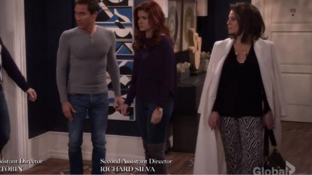 Helmut Lang Motley Cotton-Silk Cuffed Pants outfit worn by Karen Walker (Megan Mullally) in Will & Grace (S01E16) - TV Show Outfits and Products