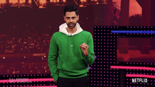 Helmut Lang Taxi green hoodie outfit worn by Hasan Minhaj as seen in Patriot Act with Hasan Minhaj - TV Show Outfits and Products