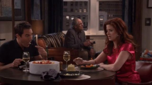 Helmut Lang Zipper Detail Lacquered Silk Top outfit worn by Grace Adler (Debra Messing) in Will & Grace (S01E16) - TV Show Outfits and Products