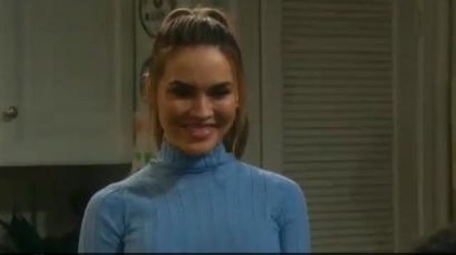 Helmut Lang cutout ribbed wool turtleneck top outfit worn by in October 3, 2019 Jordan Ridgeway (Chrishell Stause) Days of Our Lives October 3, 2019 - TV Show Outfits and Products