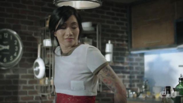 Helmut lang Mesh Baby Ringer Tee outfit worn by Grace Choi (Chantal Thuy) in Black Lightning Season 03 Episode 05 - TV Show Outfits and Products