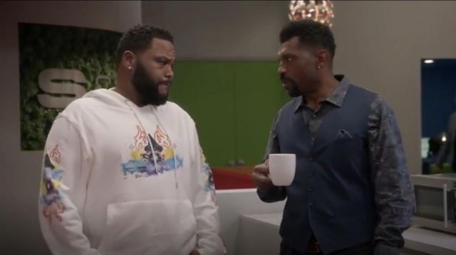 Heron Preston Folkloric Wizard Cotton French Terry Hoodie outfit worn by Andre 'Dre' Johnson (Anthony Anderson) in black-ish Season 6 Episode 3 - TV Show Outfits and Products