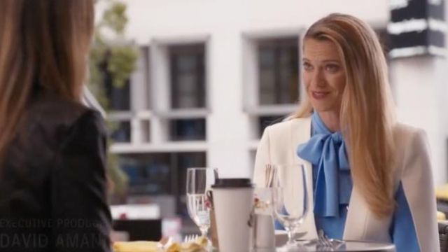 Fashion Trends 2021: High Neck Long Sleeve Silk Bow Blouse outfit seen on Sydney (Heather Doerksen) in Take Two (S01E13)