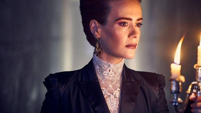 High white lace of Ms. Wilhemina Venable (Sarah Paulson) seen in American Horror Story Revelation (Season 8) - TV Show Outfits and Products
