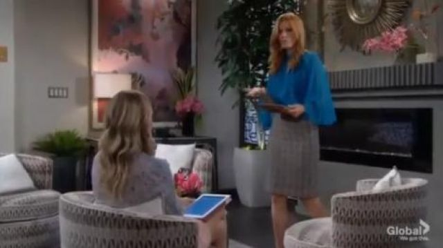 Hobbs London Jessie tweed pencil skirt outfit worn by Phyllis Summers (Michelle Stafford) in The Young and the Restless October 8, 2019 - TV Show Outfits and Products