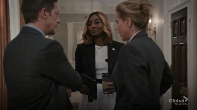 Hobbs London Lucie Sleeveless Floral And Dot Midi Dress outfit worn by Daisy Grant (Patina Miller) in Madam Secretary Season 6 Episode 1 - TV Show Outfits and Products