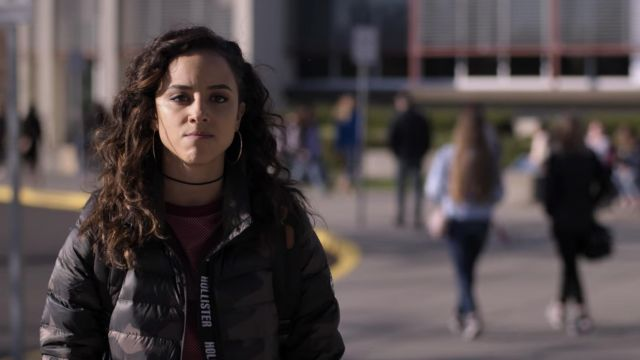 Hollister Puffer Down Jacket in Camo Olive outfit worn by Moe Truax (Kiana Madeira) as seen in Trinkets (S01E06) - TV Show Outfits and Products