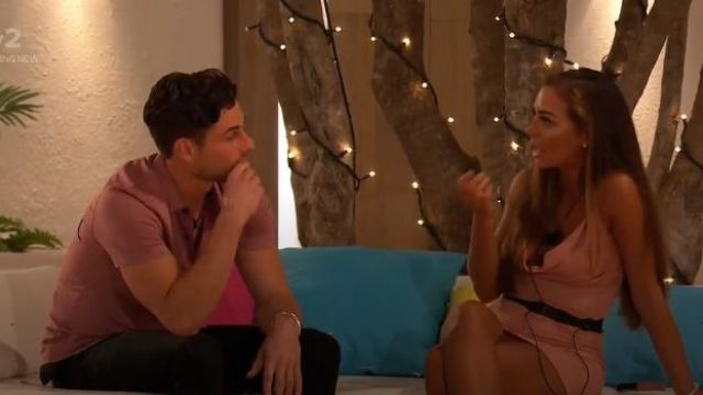 I Saw It First Pink Cowl Neck Ruched Satin Mini Dress outfit worn by Elma Pazar in Love Island (S05E15) - TV Show Outfits and Products