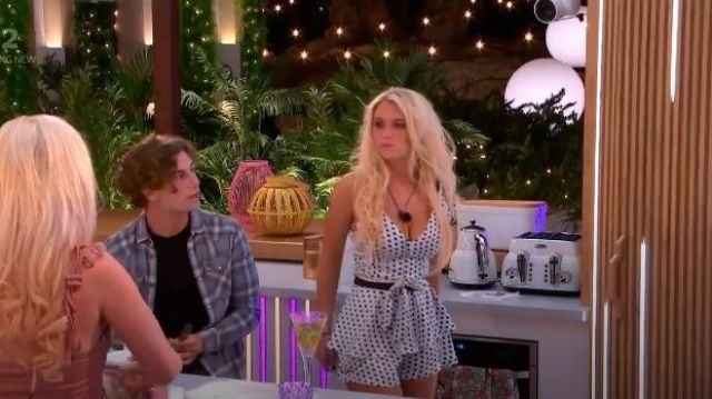 I Saw It First White / Black Polka Dot Strappy Playsuit outfit worn by Lucie Donlan in Love Island (S05E10) - TV Show Outfits and Products