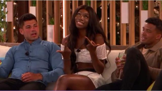 I Saw It First White Ruched Dobby Polka Dot Bandeau Top outfit worn by Yewande Biala in Love Island (S05E08) - TV Show Outfits and Products