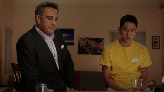"""Fashion Trends 2021: """"Imagine Nation"""" Yellow t-shirt outfit seen on Miggy Park (Jake Choi) as seen in Single Parents S01E08"""