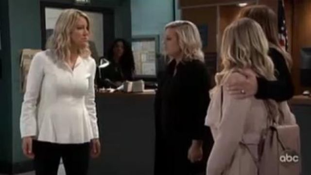 Inc international concepts Textured Wrap Coat in Pale Rose outfit worn by Lulu Spencer Falconeri (Emme Rylan) as seen on General Hospital November 11, 2019 - TV Show Outfits and Products