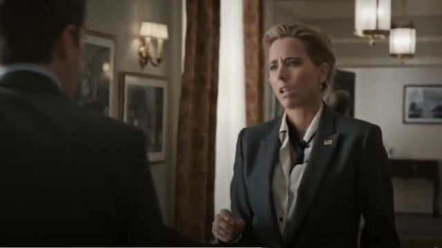 Investments Christine Gold Label Non Iron Long Sleeve Button Front Contrast Trim Shirt outfit worn by Elizabeth McCord (Téa Leoni) in Madam Secretary Season 6 Episode 1 - TV Show Outfits and Products
