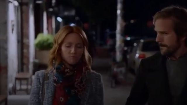 Isabel Marant Étoile Grey Kice Checked Wool-blend Bouclé Blazer worn by Julia Bechley (Brittany Snow) in Almost Family Season 1 Episode 8