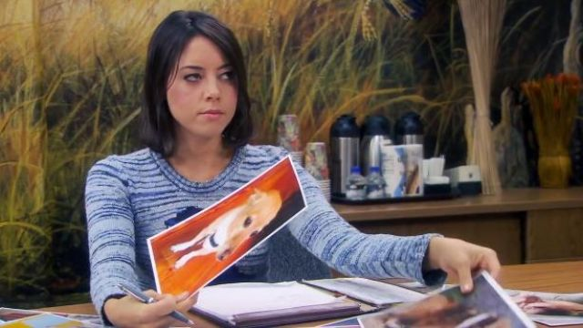 Isabel Marant Blue Sandy Owl Jacquard Sweater outfit worn by April Ludgate (Aubrey Plaza) in Parks and Recreation (S06E08) - TV Show Outfits and Products