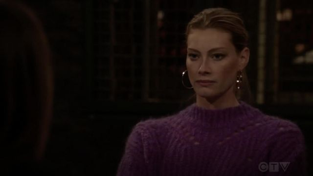 Fashion Trends 2021: Isabel Marant Mohair & Wool Blend Purple Crop Sweater outfit seen on Sadie Parker (Alyssa Sutherland) in Law & Order: Special Victims Unit S20E11