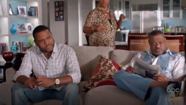 Isaia Woven Large Check Dress Shirt outfit worn by Andre 'Dre' Johnson (Anthony Anderson) in black-ish (S02E01) - TV Show Outfits and Products