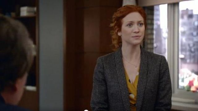 J Crew Dark Grey Wool Blazer outfit worn by Julia Bechley (Brittany Snow) in Almost Family Season 01 Episode 01 - TV Show Outfits and Products