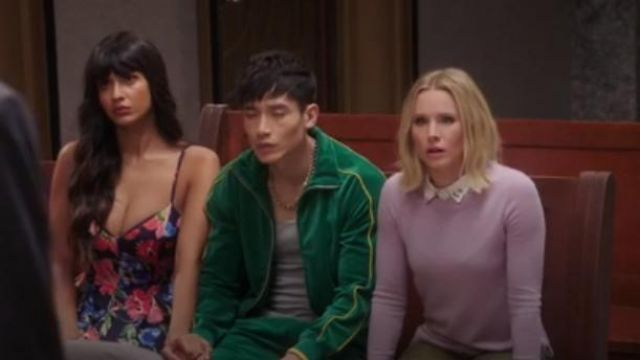 J Crew Long-sleeve everyday cashmere crewneck sweater in Smoky Wisteria outfit worn by Eleanor Shellstrop (Kristen Bell) in The Good Place Season 4 Episode 8 - TV Show Outfits and Products