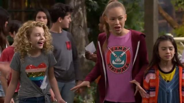 J. Crew Girls' Reversible Sequin Heart T-shirt outfit worn by Mallory James Mahoney in BUNK'D (Season 04 Episode 04)