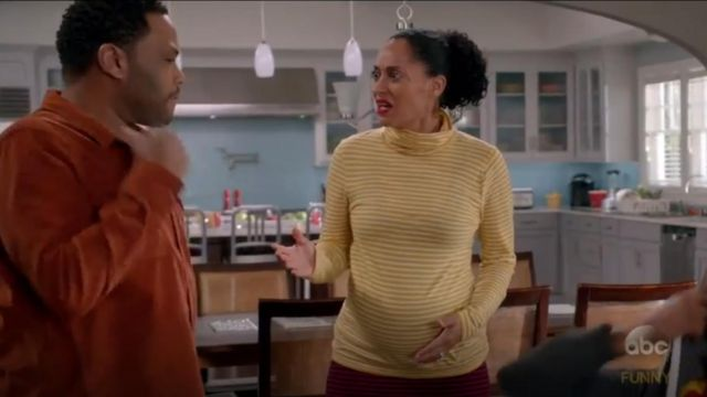 J. Crew Striped Tissue Turtleneck Pullover outfit worn by Rainbow Johnson (Tracee Ellis Ross) in black-ish (Season 03 Episode 15) - TV Show Outfits and Products