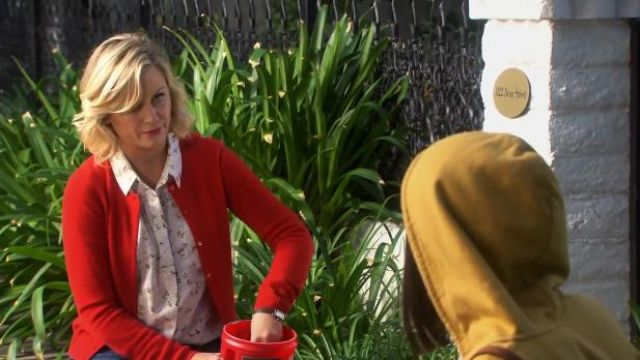 J.Crew Collection cashmere cardigan outfit worn by Leslie Knope (Amy Poehler) in Parks and Recreation (S06E01) - TV Show Outfits and Products