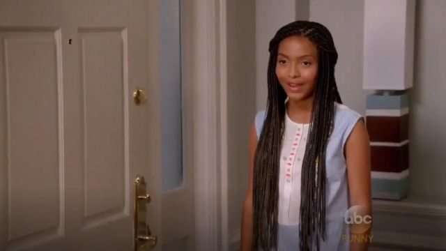 J.Crew Crystal Embellished Tuxedo Shell outfit worn by Zoey Johnson (Yara Shahidi) in black-ish (S02E01) - TV Show Outfits and Products