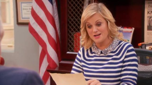 J.Crew Liberty-collar merino sweater in stripe outfit worn by Leslie Knope (Amy Poehler) in Parks and Recreation (S05E20) - TV Show Outfits and Products