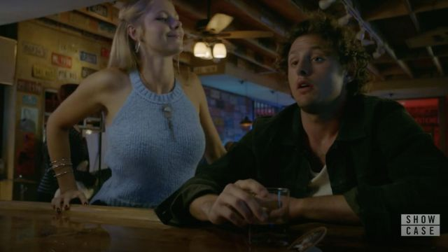 Fashion Trends 2021: J.Crew Light Blue Sweater tank outfit seen on Isobel Evans-Bracken (Lily Cowles) in Roswell, New Mexico S01E02
