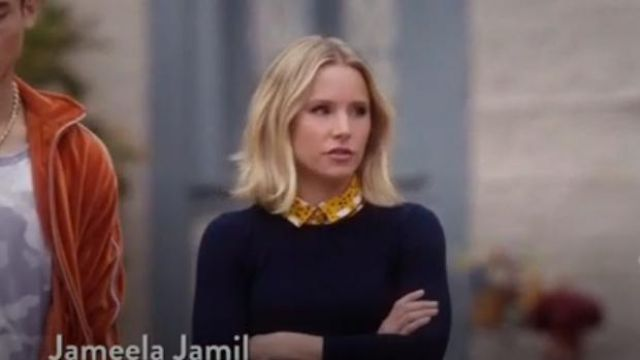 J.Crew Navy Long-sleeve everyday cashmere crewneck sweater outfit worn by Eleanor Shellstrop (Kristen Bell) in The Good Place Season 4 Episode 8 - TV Show Outfits and Products