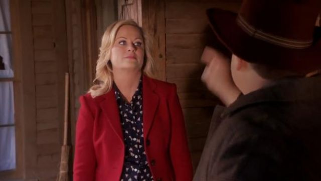 J.Crew Silk boy shirt in french hen outfit worn by Leslie Knope (Amy Poehler) in Parks and Recreation (S05E19) - TV Show Outfits and Products