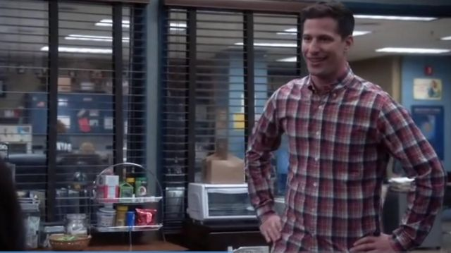 J.Crew Slim Secret Wash Shirt in Classic Red Plaid outfit seen on Jake Peralta (Andy Samberg) in Brooklyn Nine-Nine (S05E06)