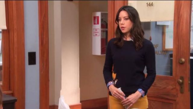 J.Crew Tabby sweater outfit worn by April Ludgate (Aubrey Plaza) in Parks and Recreation (S05E16) - TV Show Outfits and Products