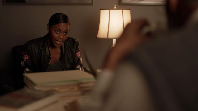 Jacket bomber black embroidered For The Republic carried by Anissa Pierce (Nafessa Williams) seen in Black Lightning Season 1 Episode 5 - TV Show Outfits and Products
