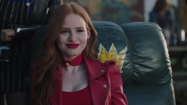 Jacket in red leather Maje outfit worn by Cheryl Blossom (Madelaine Petsch) seen in Riverdale Season 3 Episode 3 - TV Show Outfits and Products