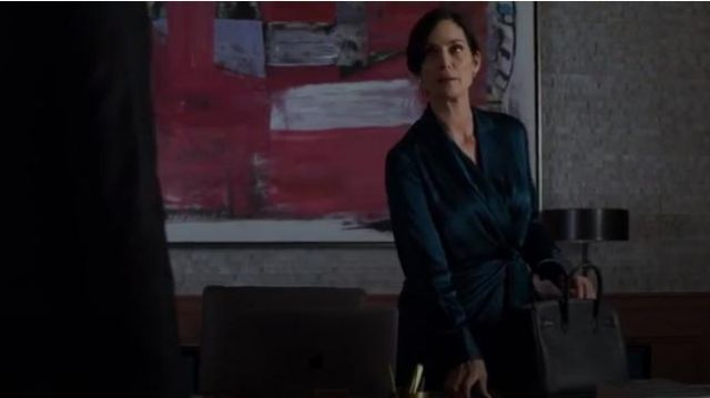 Jason Wu Wrap-effect draped silk-satin dress outfit worn by Jeri Hogarth (Carrie-Anne Moss) in Marvel's Jessica Jones (Season 03 Episode 04) - TV Show Outfits and Products